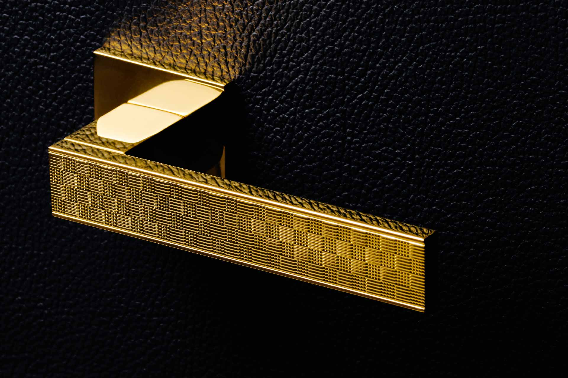 Bellevue Architectural - Diana Damier doorhandle from Olivari with damier guilloche pattern